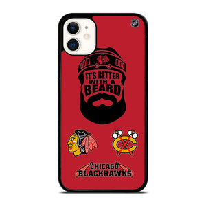 coque custodia cover fundas iphone 11 pro max 5 6 7 8 plus x xs xr se2020 C13782 CHICAGO BLACKHAWKS BEARD iPhone 11 Case