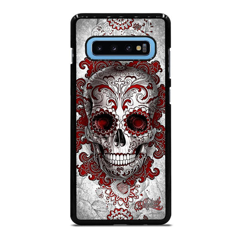 coque custodia cover fundas hoesjes j3 J5 J6 s20 s10 s9 s8 s7 s6 s5 plus edge D24210 FLORAL SUGAR SKULL RED Samsung Galaxy S10 Plus Case