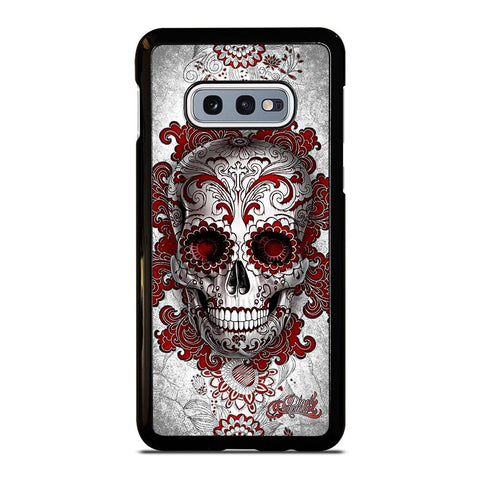 coque custodia cover fundas hoesjes j3 J5 J6 s20 s10 s9 s8 s7 s6 s5 plus edge D24209 FLORAL SUGAR SKULL RED Samsung Galaxy S10 e Case