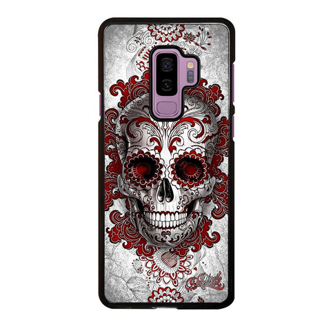coque custodia cover fundas hoesjes j3 J5 J6 s20 s10 s9 s8 s7 s6 s5 plus edge D24216 FLORAL SUGAR SKULL RED Samsung Galaxy S9 Plus Case