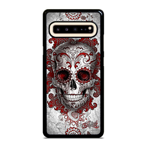coque custodia cover fundas hoesjes j3 J5 J6 s20 s10 s9 s8 s7 s6 s5 plus edge D24207 FLORAL SUGAR SKULL RED Samsung Galaxy S10 5G Case