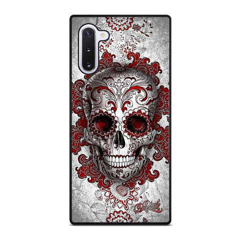 coque custodia cover fundas hoesjes j3 J5 J6 s20 s10 s9 s8 s7 s6 s5 plus edge D24203 FLORAL SUGAR SKULL RED Samsung Galaxy Note 10 Case
