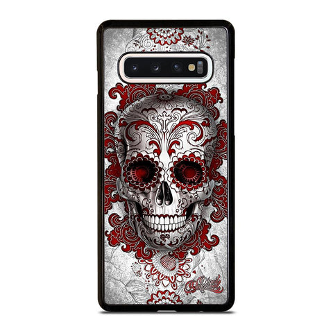 coque custodia cover fundas hoesjes j3 J5 J6 s20 s10 s9 s8 s7 s6 s5 plus edge D24208 FLORAL SUGAR SKULL RED Samsung Galaxy S10 Case