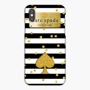 Custodia Cover iphone 6 7 8 plus Kate Spade Black White Ace Gliter Gold