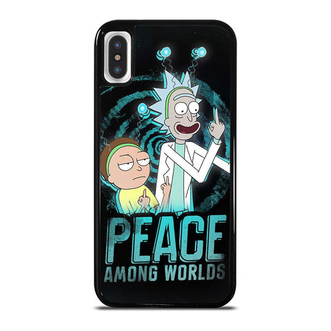 coque custodia cover fundas iphone 11 pro max 5 6 7 8 plus x xs xr se2020 C29664 RICK AND MORTY PEACE AMONG WORLDS iPhone X / XS Case