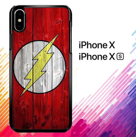 Flash SUperhero Logo on Wood Z1692 custodia iPhone X, XS