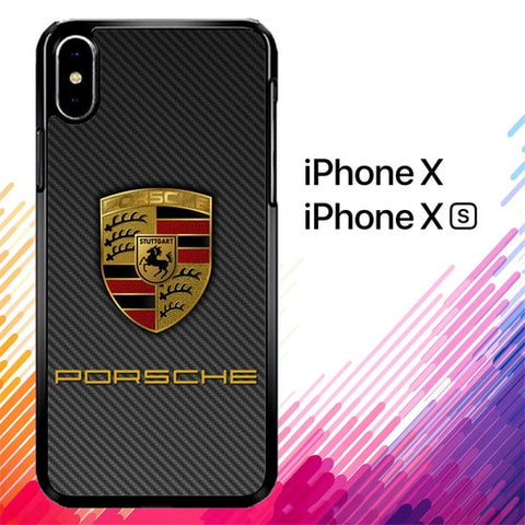 Porsche Logo Carbon X5017 custodia iPhone X, XS