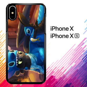 stitch and toothless Y1839 custodia iPhone X, XS