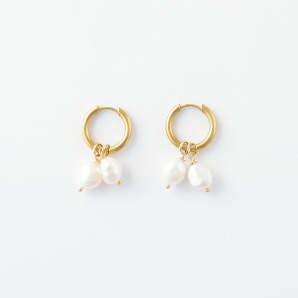 Nathi Two Pearl Hoops