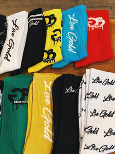 Black Live Gold Striped Socks