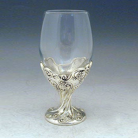 Sterling Silver and Glass Mounted Kiddush Cup by Caspi Silver