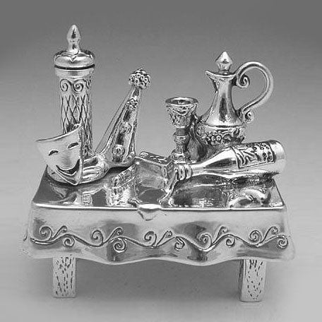 Sterling Silver Purim Table Miniature by Caspi Silver