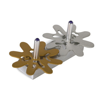 Double Flower Aluminum Dreidel by Adi Sidler