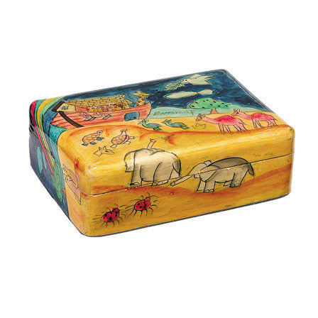 Wooden Painted Noah's Ark Jewelry Box by Yair Emanuel