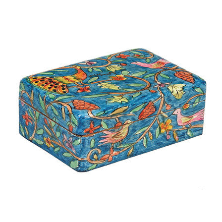 Wooden Painted Peacock Jewelry Box by Yair Emanuel