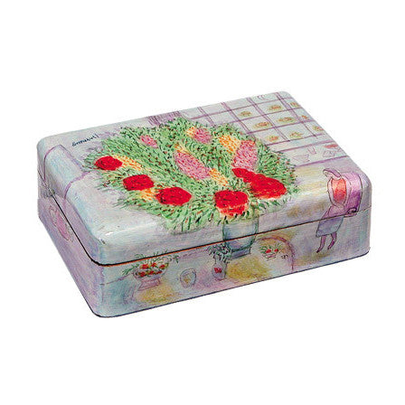 Wooden Painted Flowers Jewelry Box by Yair Emanuel