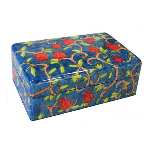 Wooden Painted Pomegranate Jewelry Box by Yair Emanuel
