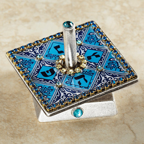 Hand Painted Pewter Dreidel with Swarovski Stones by Iris Design