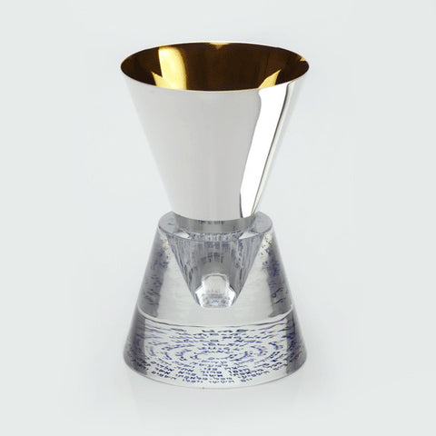 Silver & Gold Plated Kiddush Cup with Crystal Stand by Caesarea Art