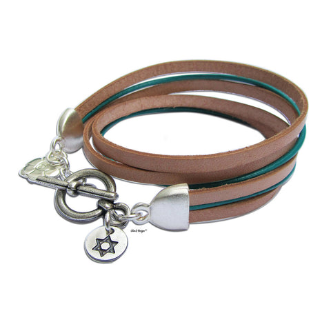 Flat Leather Wrap Bracelet by ChenZ Designs