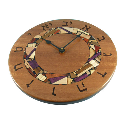 Handcrafted Wooden Mosaic Clock with Hebrew Numerals by Etz Ron