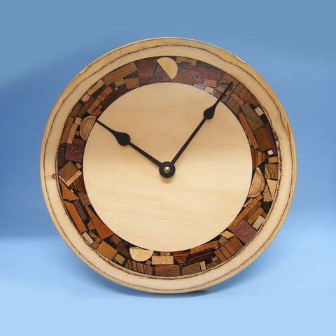 Handcrafted Wooden Mosaic Clock by Etz Ron