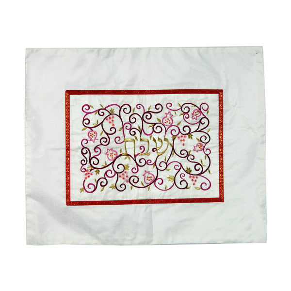Embroidered Challah Cover with Pomegranates and Grapes by Yair Emanuel - Matana Boutique