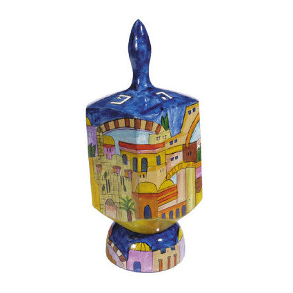 Extra Large Wooden Dreidel with Jerusalem Scene and Stand by Yair Emanuel