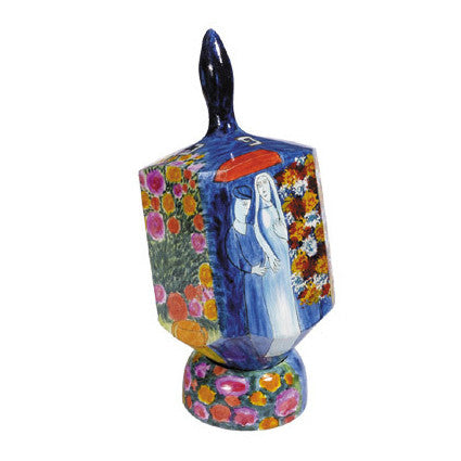 Extra Large Wooden Dreidel with Wedding Scene and Stand by Yair Emanuel - Matana Boutique