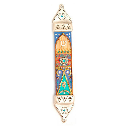 Hand Painted Pewter & Wood Mezuzah by Ester Shahaf - Matana Boutique
