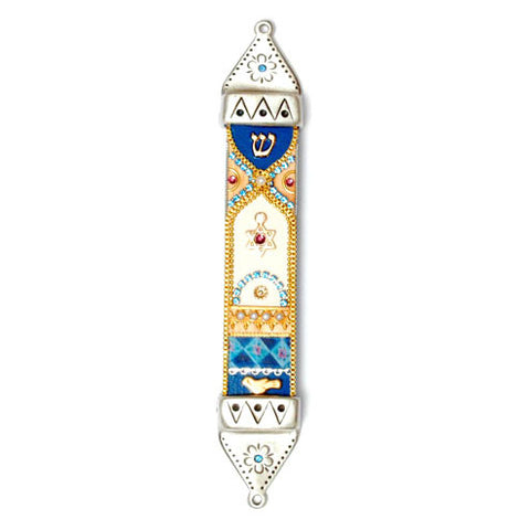 Hand Painted Pewter & Wood Mezuzah by Ester Shahaf