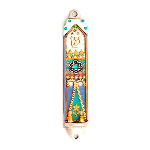 Hand Painted Pewter & Wood Small Mezuzah by Ester Shahaf - Matana Boutique