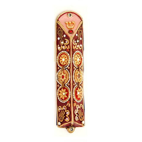 Hand Painted Pewter & Wood Small Mezuzah by Ester Shahaf