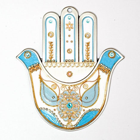 Pewter Hamsa Wall Hanging with Doves by Ester Shahaf