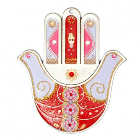 Hamsa Wall Hanging with Doves by Ester Shahaf