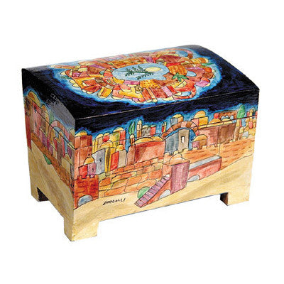 Wooden Hand Painted Etrog Box by Yair Emanuel
