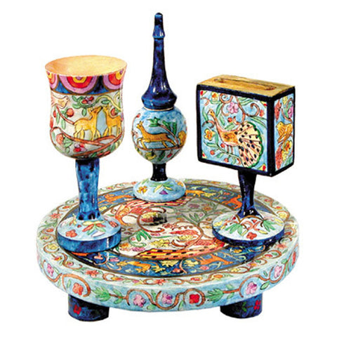 Wooden Hand Painted Havdalah Set by Yair Emanuel