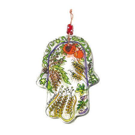 Glass Painted Hamsa Wall Hanging by Yair Emanuel