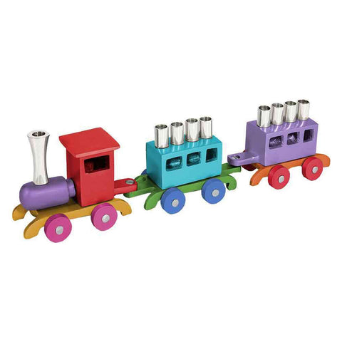 Anodized Aluminum Train Chanukah Menorah by Yair Emanuel