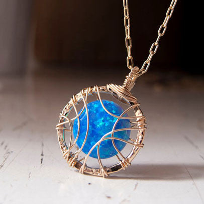 Opal Pendant, Blue by Lior Zager - Matana Boutique