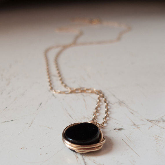 Black Stone Necklace by Lior Zager - Matana Boutique