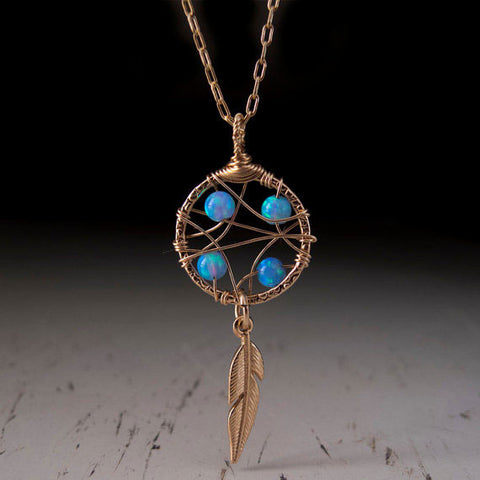 Gold Feather Opal Necklace by Lior Zager
