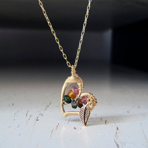 Gold Heart with Tourmaline Necklace by Lior Zager