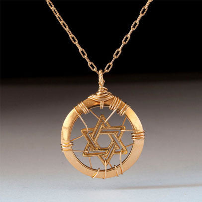 Gold Star of David Pendant by Lior Zager