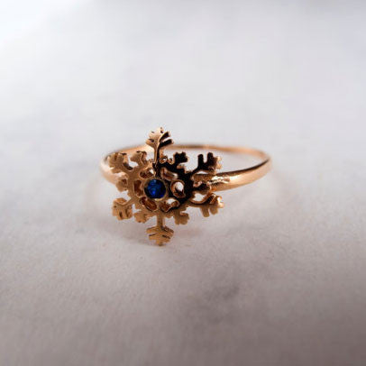 Gold Snowflake Ring with Blue Sapphire by Lior Zager - Matana Boutique