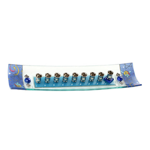 Glass Chanukah Menorah by Lily Art