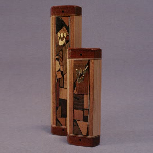 Handcrafted Wood Extra-Wide Mosaic Mezuzah by Etz Ron - Matana Boutique