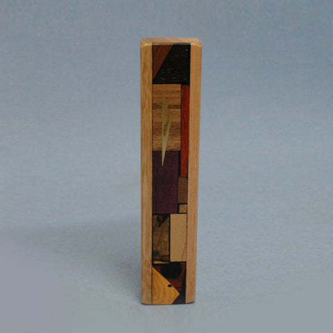 Handcrafted Wood Mosaic Stripe Mezuzah by Etz Ron
