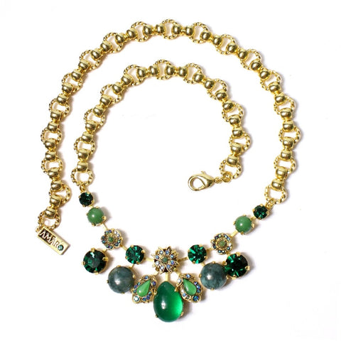 Deep Forest Necklace with Swarovski Crystals and Semi-Precious stones by Amaro