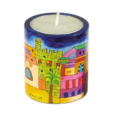 Handpainted Candle Holder by Yair Emanuel - Matana Boutique